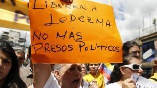Manifestation de soutien à Antonio Ledezma, le maire de Caracas et opposant au président Maduro, le 20 février 2015.