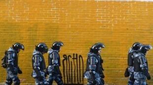 La police dans les rues de Moscou