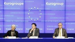 Shugabar hukumar bada lamuni ta Duniya, IMF, Christine Lagarde tare da shugabannin kungiyar kasashen euro