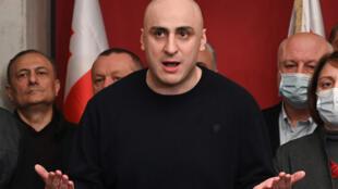 Nika Melia en la sede de su partido en Tiflis, el  17 de febrero de 2021