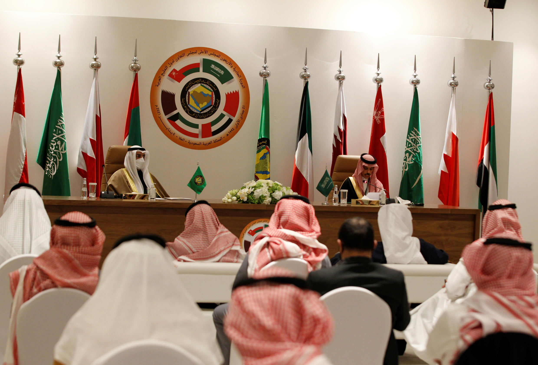 Secretary-General of the Gulf Cooperation Council (GCC) Nayef Falah al-Hajraf and Saudi Arabia's Foreign Minister Prince Faisal bin Farhan Al Saud speak during a joint news conference at the Gulf Cooperation Council's (GCC) 41st Summit in Al-Ula, Saudi Arabia January 5, 2021. REUTERS/Ahmed Yosri