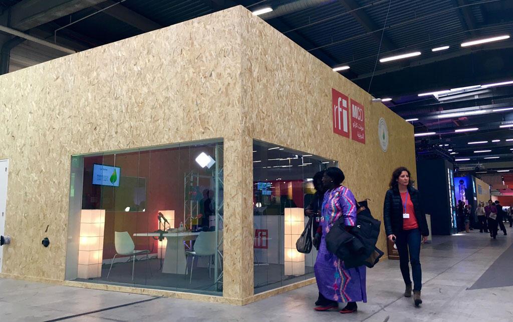 Le studio de RFI durant le COP21 au Bourget.