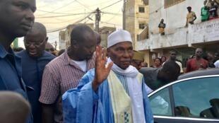 L'ancien président sénégalais Abdoulaye Wade, dans le quartier de Grand Yoff, à Dakar, le 9 septembre 2017.