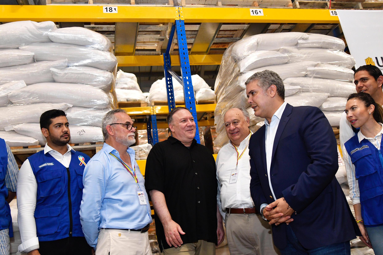 Ngoại trưởng Mỹ Mike Pompeo và tổng thống Colombia Ivan Duque, tại Cucuta, Colombia, ngày 14/04/2019.