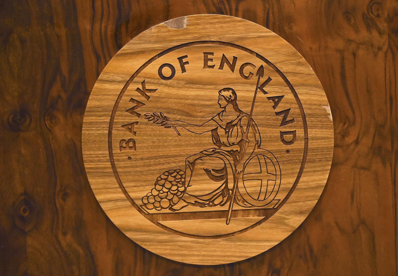 Le logo de la Banque d'Angleterre, photographié le 5 juillet 2016, lors d'une conférence de presse à Londres.