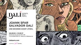 L'affiche de l'exposition « Joann Sfar-Salvador Dali, <i>Une seconde avant l'éveil », </i>se tient jusqu'au 31 mars 2017, à l'espace Dali près de Montmartre à Paris.