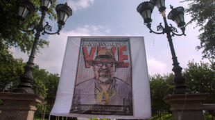 Un tributo al periodista Javier Valdez en el primer aniversario de su muerte en Monterrey, México, en 2018