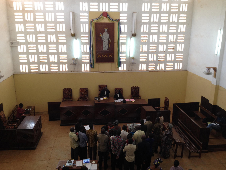 Au sein du palais de justice de Bangui.