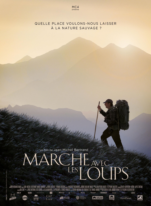 Extrait de l'affiche du film «Marche avec les loups» de Jean-Michel Bertrand.