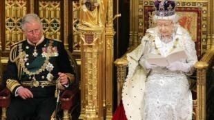 La reina Elizabeth II da lectura al discurso de la corona  durante la apertura de las sesiones del Parlamento, el 8 de mayo de 2013.