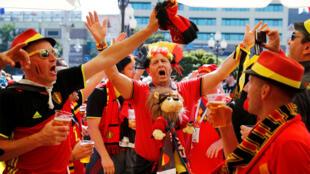 Des supporters de l'équipe de la Belgique lors de la Coupe du monde 2018 en Russie.