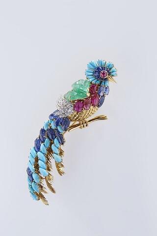 Broche pájaro del paraíso-quetzal. Mauboussin 1960. colección particual.