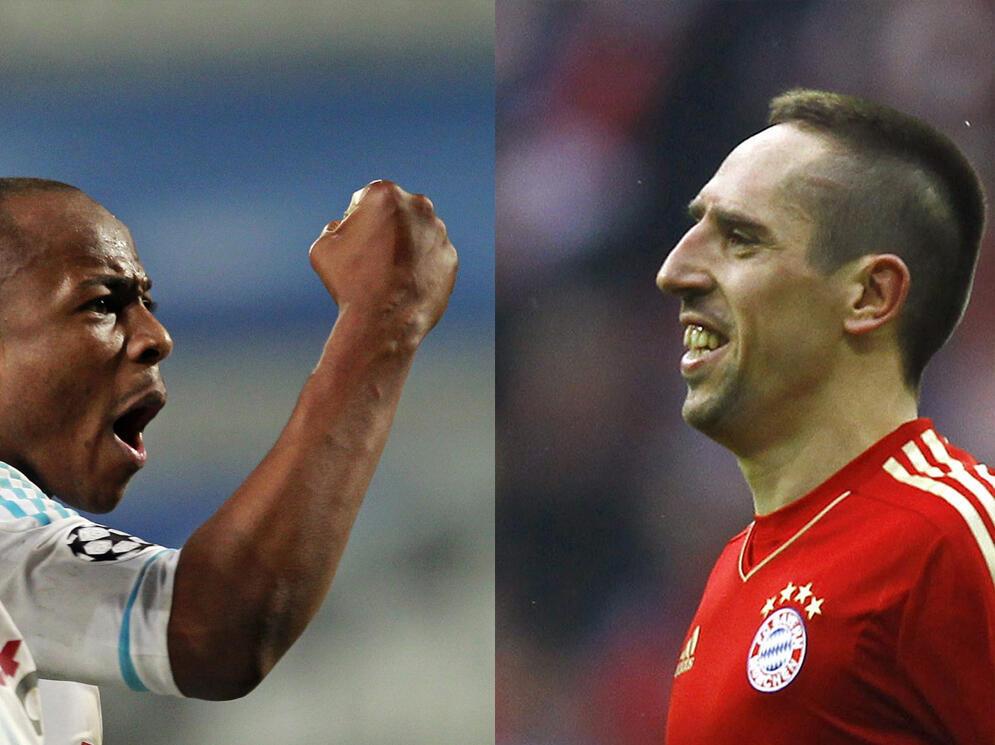 Franck Ribery Dan wasan Bayern Munich da dan wasan 'Olympique Marseille André Ayew a wasan zakarun Turai