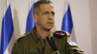 Le chef d'Etat-major de l'armée israélienne, le lieutenant-général Aviv Kohavi, s'adresse aux médias au ministère de la Défense à Tel Aviv le 12 novembre 2019.