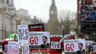 Manifestación por la dimisión de David Cameron tras el escándalo de los Panama Papers, el pasado 9 de abril en Londres.