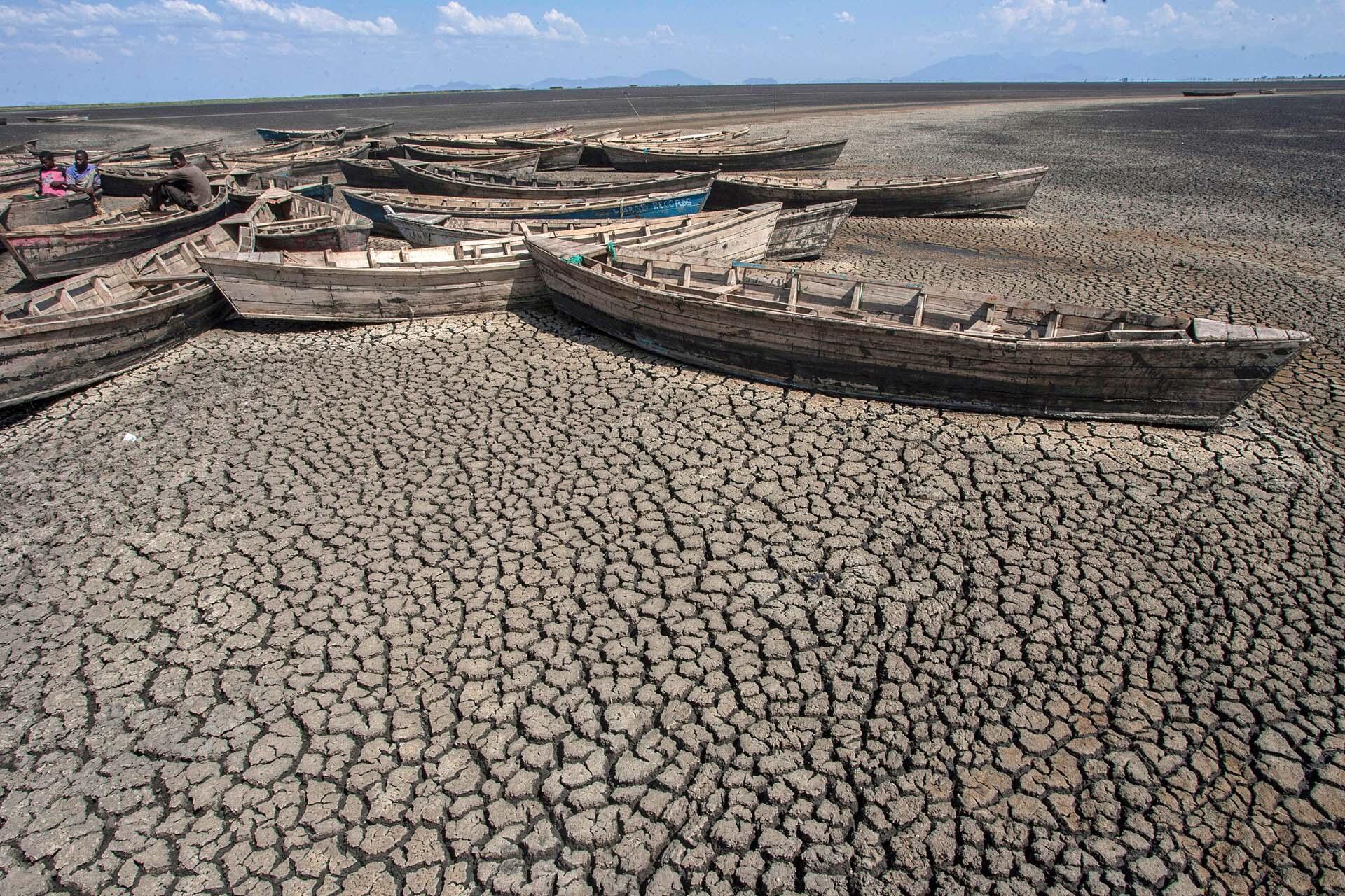 L'assèchement du lac Chilwa, deuxième plus grand lac du Malawi, a des conséquences néfastes sur les moyens de subsistance des communautés situées autour des zones humides. Le 18 octobre 2018.