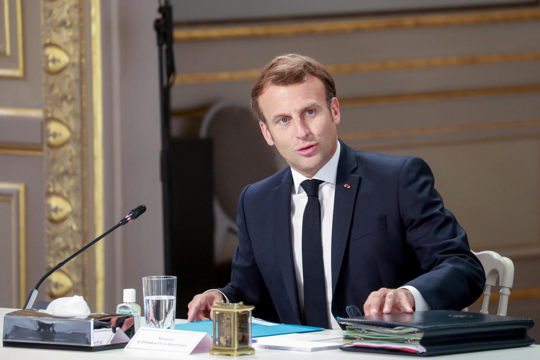 Emmanuel Macron at a meeting with social partners at the Elysée Palace, 24 June 2020.
