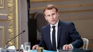 Emmanuel Macron at a meeting with social partners at the Elysée Palace, 24 June 2020.