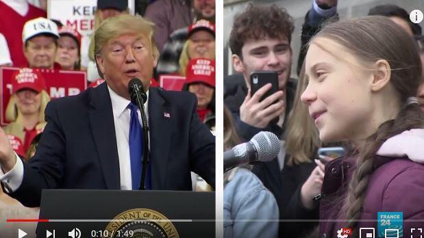 美国总统特朗普VS气候少女通贝里