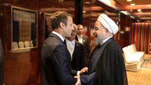 دیدار حسن روحانی با امانوئل ماکرون در ۱۸ سپتامبر ۲۰۱٩  در نیویورک