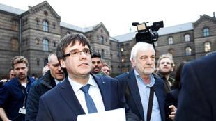 O líder catalão Carles Puigdemont na universidade de Copenhague.