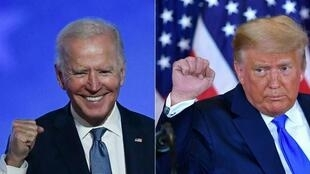 美国大选民主党总统候选人拜登与共和党候选人特朗普资料图片