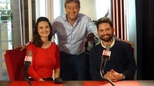 Johanna Soudry y Johnatan Marín con Jordi Batallé en RFI
