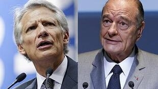 Dominique de Villepin (L) and Jacques Chirac