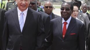 លោក Robert Mugabe និងលោក Xi Jinping នៅទីក្រុងប៉េកាំង ថ្ងៃទី១ធ្នូ ២០១៥