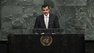 L'émir du Qatar Tamim bin Hamad Al-Thani, lors de son discours à l'Assemblée générale de l'ONU le 19 septembre 2019, à New York. (photo d'illustration)