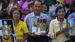 Người Thái mang ảnh chân dung Vua Bhumibol, bên ngoài hoàng cung, 04/12//2013.