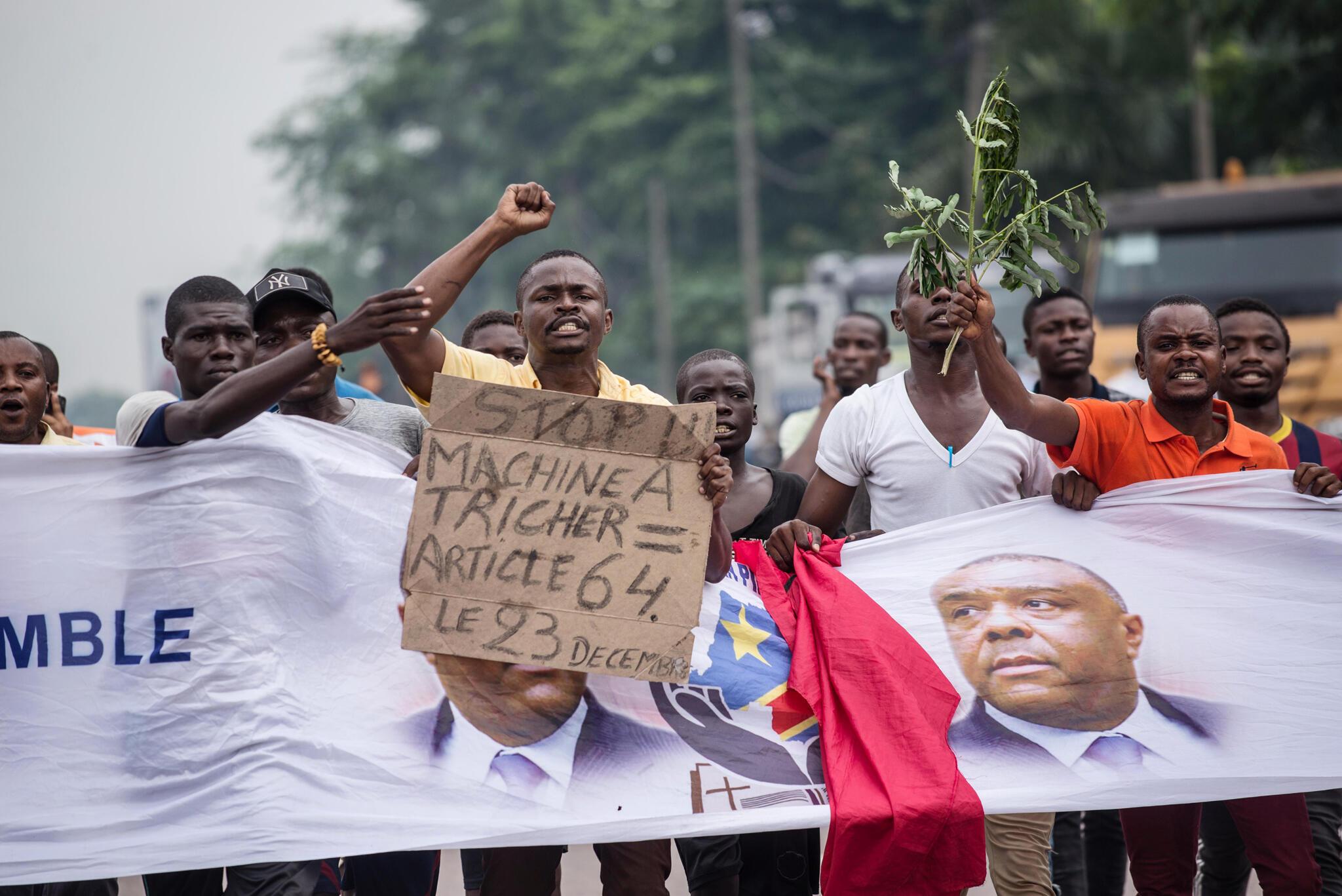 Manifestation organisée contre le processus électoral prévu pour les prochaines élections en décembre prochain en RDC, le 26 octobre 2018 à Kinshasa.