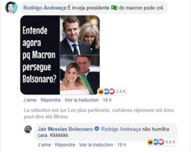 Captura de pantalla de la burla a Brigitte Macron, comentada por el presidente Jair Bolsonaro.