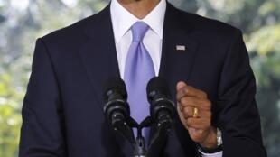 Le président américain Barack Obama s'adresse à la presse à l'issue de sa rencontre avec le Premier ministre israélien Benyamin Netanyahu à Washington, le 1er septembre 2010.