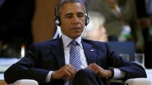 Президент США Барак Обама на парижской конференции по климату COP 21, Бурже, 30 ноября 2015.