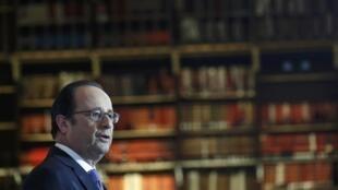Франсуа Олланд в Национальной библиотеке Франции в Париже, 11 января 2017 г.