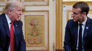 Дональд Трамп и Эмманюэль Макрон в Елисейском дворце, 10 ноября 2018 г.