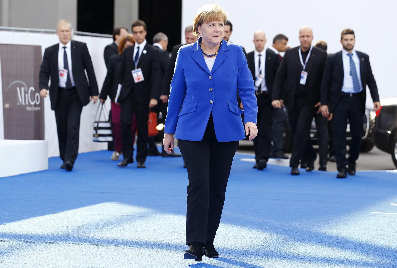 Thủ tướng Đức Angela Merkel đến Hội nghị Thượng đỉnh Á - Âu, ASEM, ở Milano, Ý. Ảnh ngày 16/10/2014.