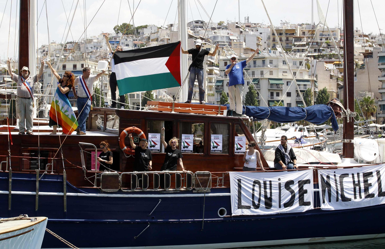Embarcações da flotilha continuam esperando para zarpar nos portos gregos.