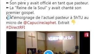 SON pasteur de l'église Robert Smith Junior au micro de RFI Capucine JAPHET sur ARETHA FRANKLIN