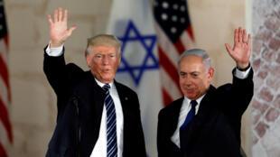 Donald Trump et Benyamin Netanyahu, à Jérusalem, le 23 mai 2017 (Photo d'illustration).