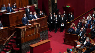 Emmanuel Macron delivers a speech during a special congress gathering both houses of parliament at Versailles on 3 July, 2017.