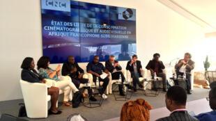 «La consommation cinématographique en Afrique francophone subsaharienne», avec B. S. Johnson (Trace TV), M. Vella (TV5 Monde), A. Cissé (Fopica), S. S. Onomo (Les films d'ici), J.-P. de Vidas (Films 26), L. Sicouri (Canal+), J.-Chr. Baubiat (UniFrance)