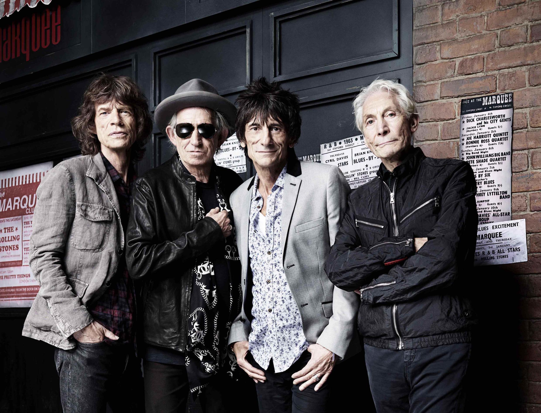 Os Rolling Stones comemoram 50 anos de carreira em Londres. Nesta imagem de quarta-feira, os integrantes da banda em frente ao The Marquee Club.