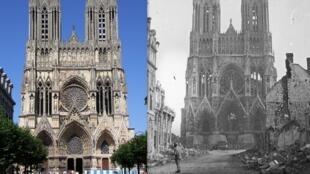 Catedral de Reims em 1914, após os bombardeios e depois de restaurada, em 2006