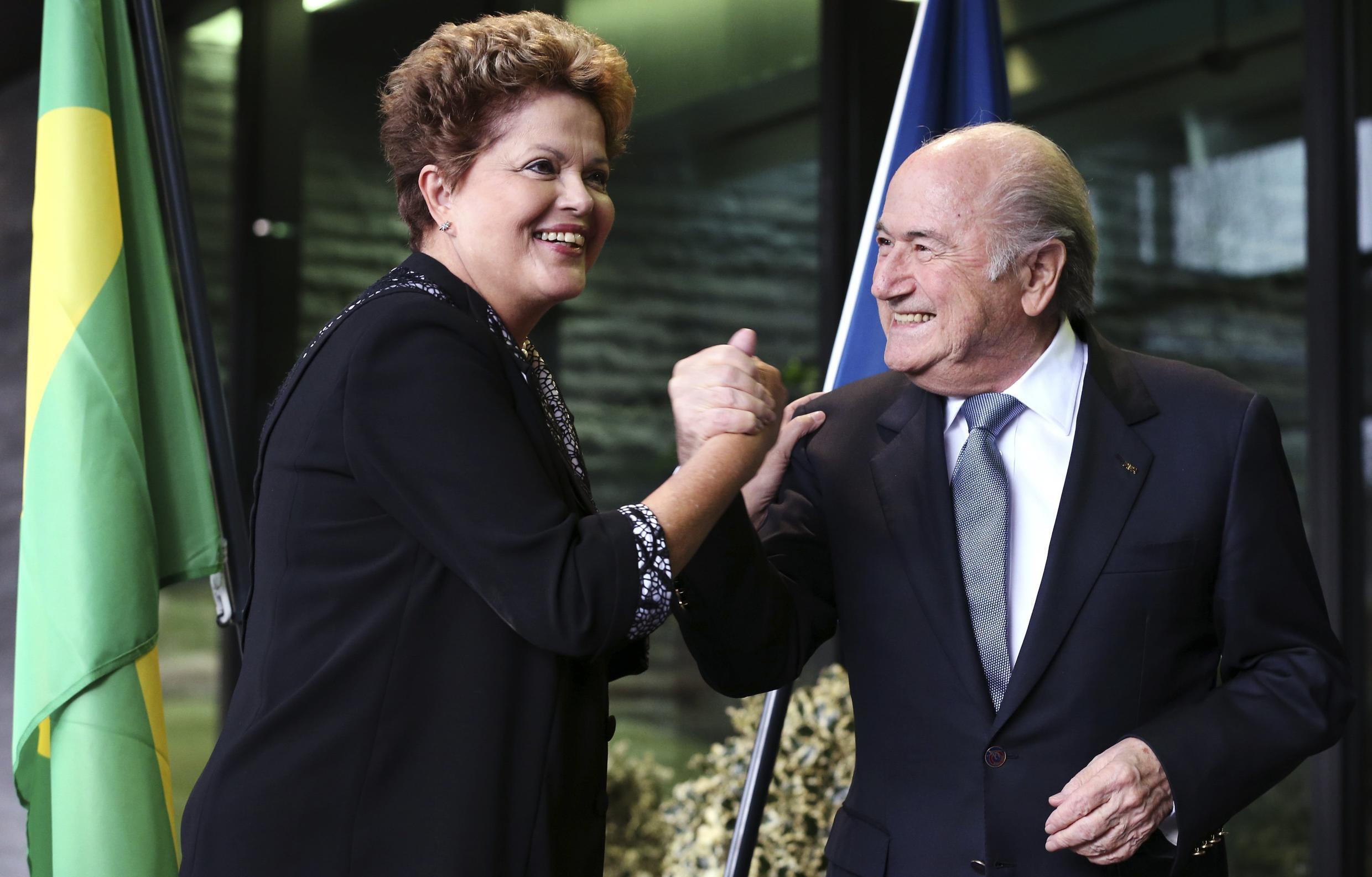 Brazilian President Dilma Rousseff  with Fifa chief Sepp Blatter