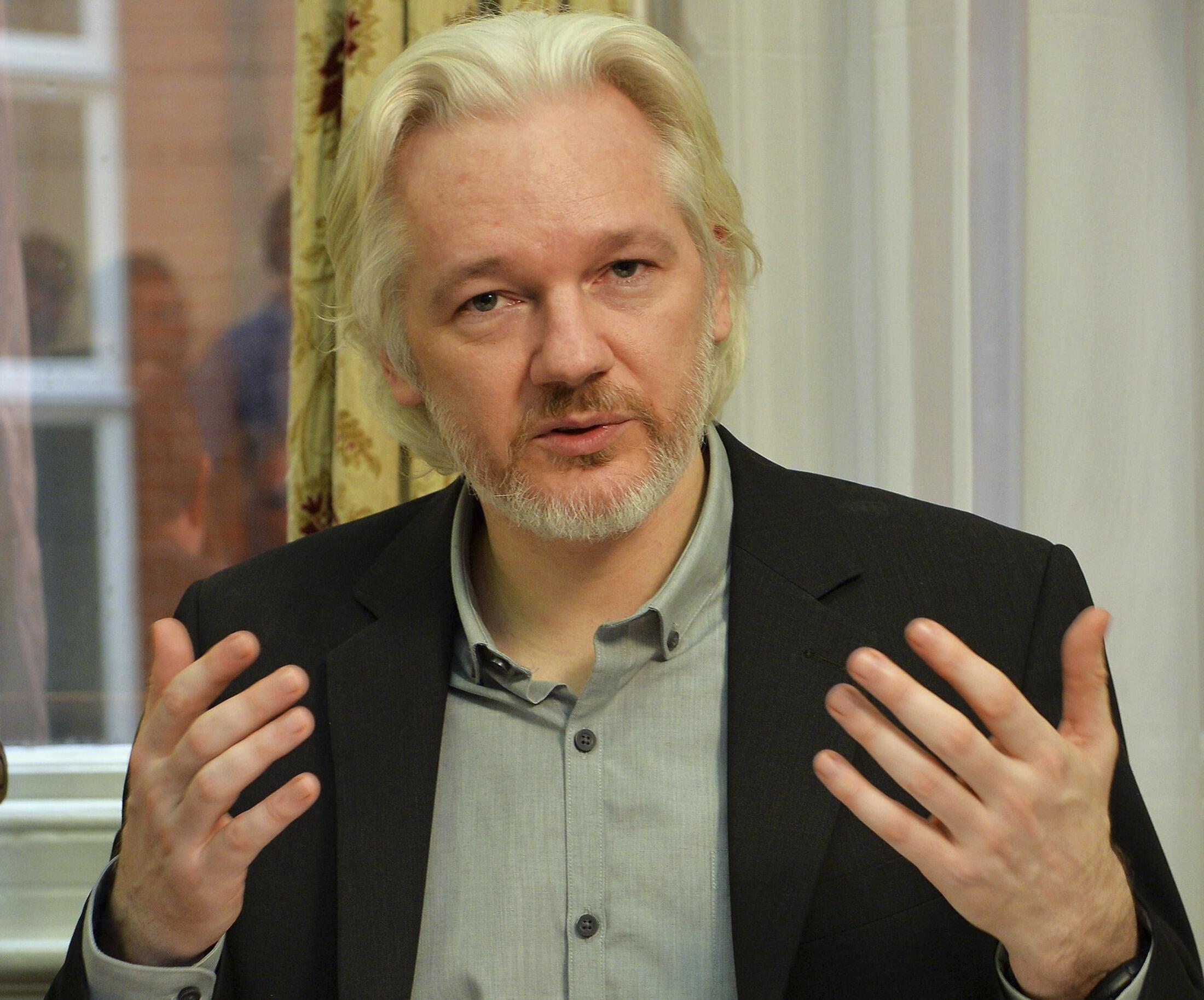 Julian Assange at the Ecuadorian embassy in London, 18 August, 2014