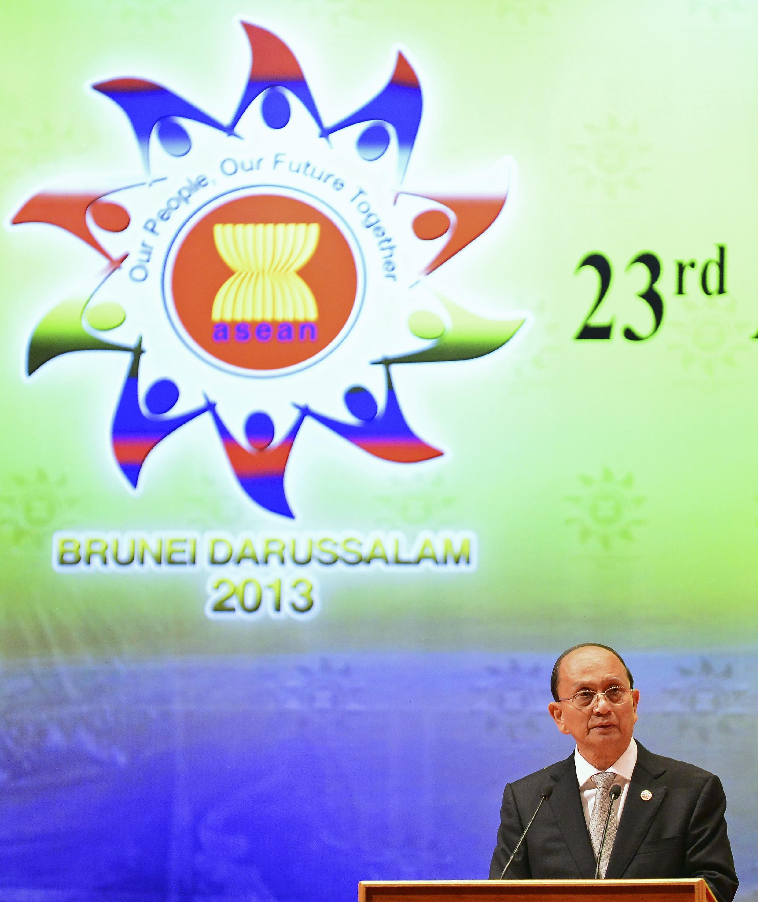 Tổng thống Miến Điện Thein Sein phát biểu trong lễ bế mạc Thượng đỉnh ASEAN lần thứ 23, Brunei, 10/10/2013