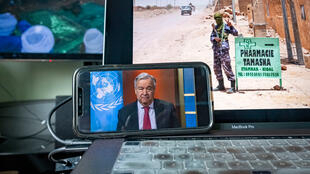 Le secrétaire général de l'ONU Antonio Guterres durant une visioconférence avec la presse, le 3 avril 2020.