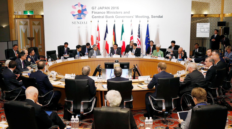 Các bộ trưởng Tài Chính  và các thống đốc ngân hàng trung ương G7 họp tại Sendai, Nhật Bản, ngày 21/05/2016.